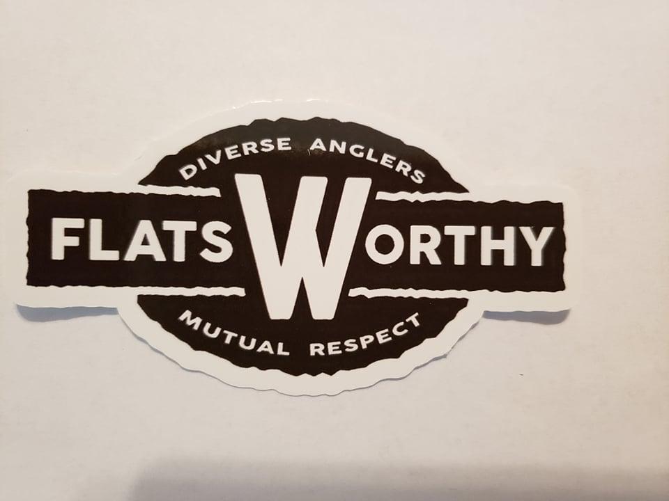 Flatsworthy Logo Sticker 4 Black And White Flatsworthy Inc
